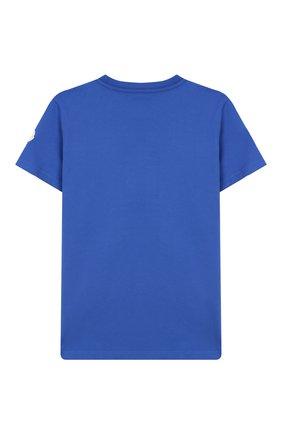 Детская хлопковая футболка MONCLER ENFANT бирюзового цвета, арт. E2-954-80269-50-83092/4-6A | Фото 2