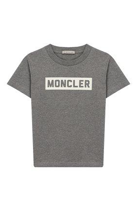 Детская хлопковая футболка MONCLER ENFANT серого цвета, арт. E2-954-80269-50-83092/8-10A | Фото 1