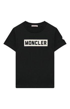 Детская хлопковая футболка MONCLER ENFANT черного цвета, арт. E2-954-80269-50-83092/8-10A | Фото 1