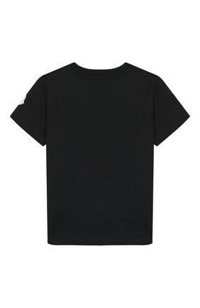 Детская хлопковая футболка MONCLER ENFANT черного цвета, арт. E2-954-80269-50-83092/8-10A | Фото 2