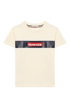 Детская хлопковая футболка MONCLER ENFANT белого цвета, арт. E2-954-80266-50-83092/8-10A | Фото 1
