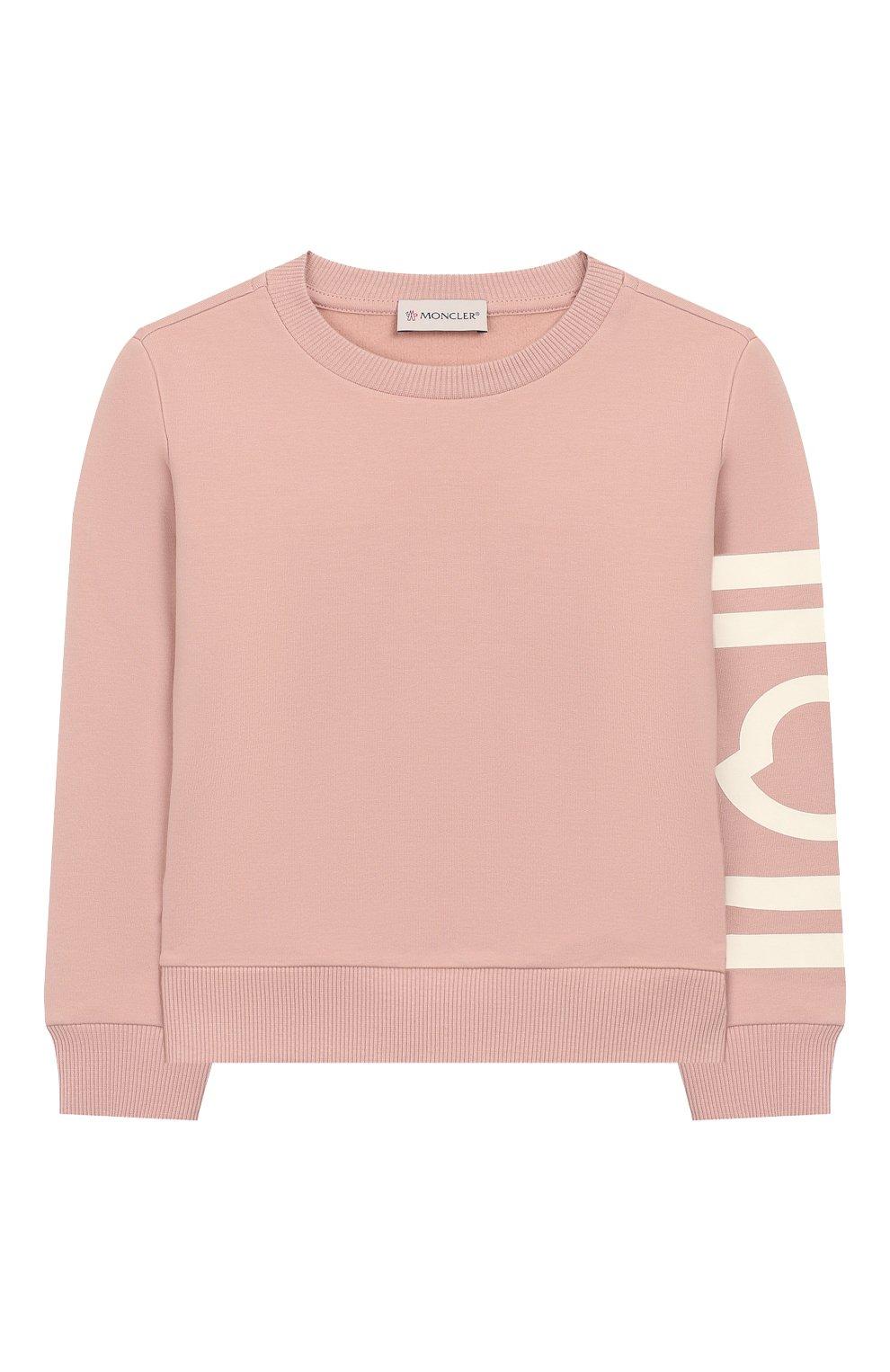 Детский хлопковый свитшот MONCLER ENFANT розового цвета, арт. E2-954-80739-50-V8085/4-6A | Фото 1
