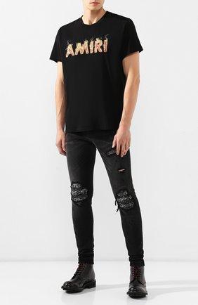 Мужская хлопковая футболка AMIRI черного цвета, арт. F9M03111CJ | Фото 2