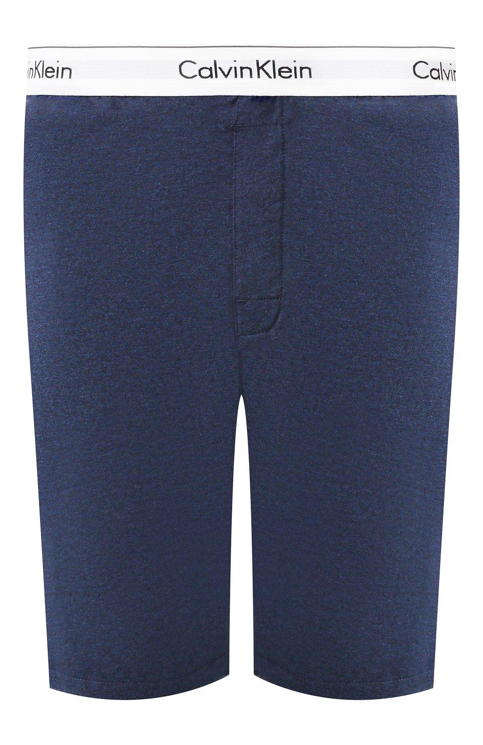 Мужские хлопковые шорты CALVIN KLEIN синего цвета, арт. NM1593E | Фото 1
