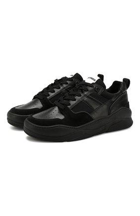 Мужские кожаные кроссовки AMI черного цвета, арт. A19S407.980 | Фото 1