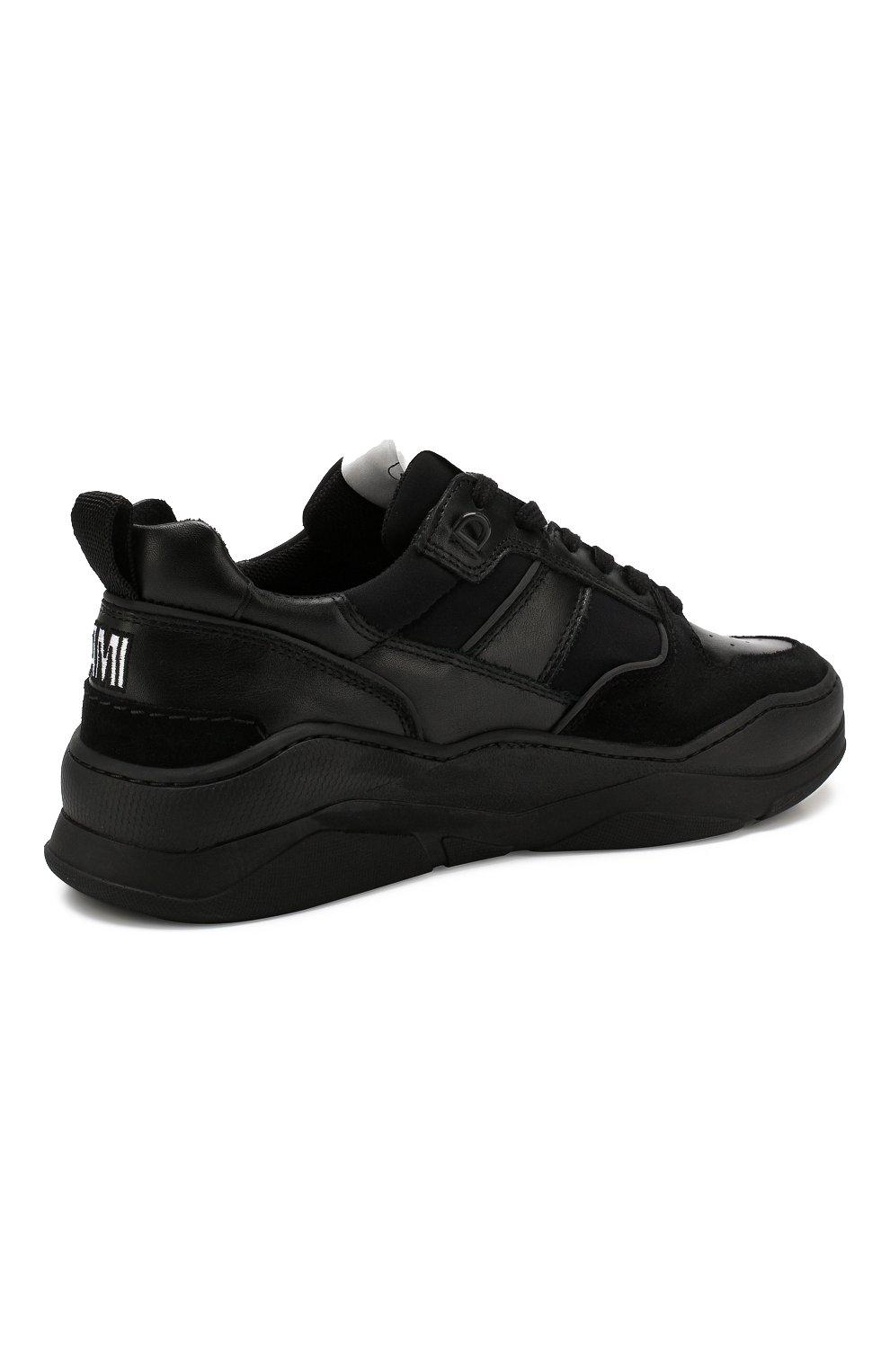 Мужские кожаные кроссовки AMI черного цвета, арт. A19S407.980 | Фото 4