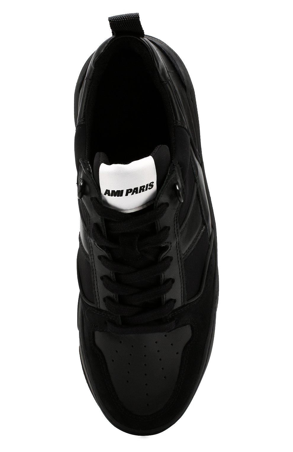 Мужские кожаные кроссовки AMI черного цвета, арт. A19S407.980 | Фото 5