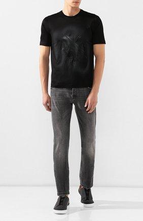 Мужская хлопковая футболка ZILLI черного цвета, арт. MES-NT240-TRIU1/MC01   Фото 2