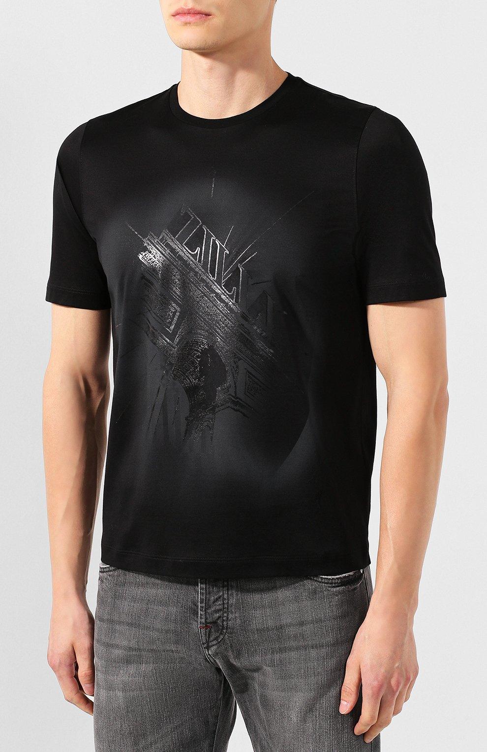 Мужская хлопковая футболка ZILLI черного цвета, арт. MES-NT240-TRIU1/MC01   Фото 3