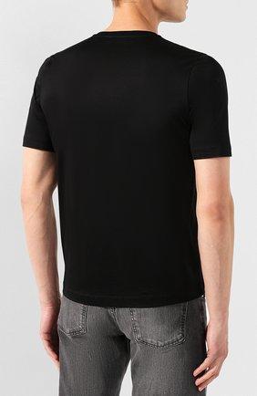 Мужская хлопковая футболка ZILLI черного цвета, арт. MES-NT240-TRIU1/MC01   Фото 4