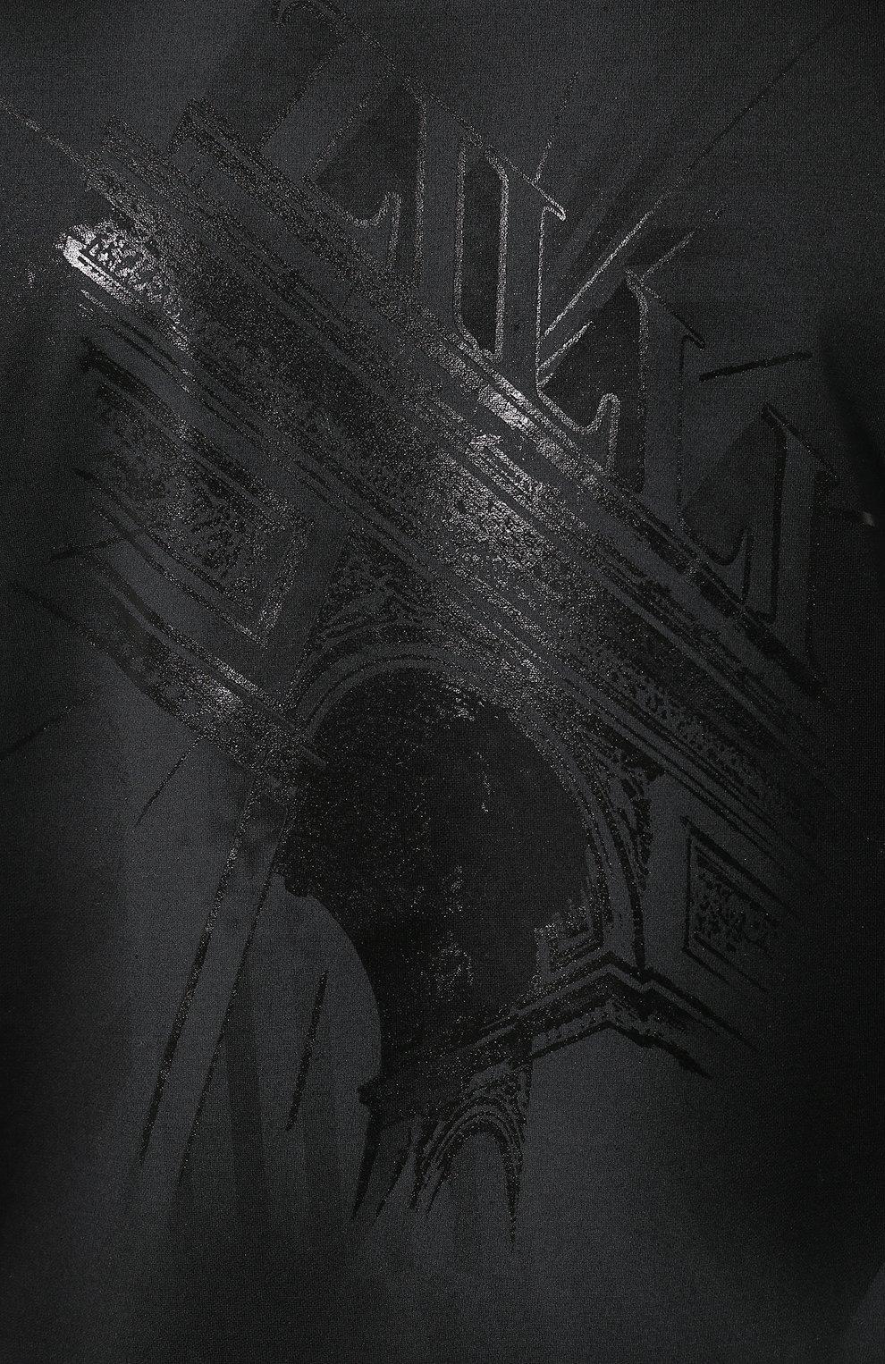 Мужская хлопковая футболка ZILLI черного цвета, арт. MES-NT240-TRIU1/MC01   Фото 5