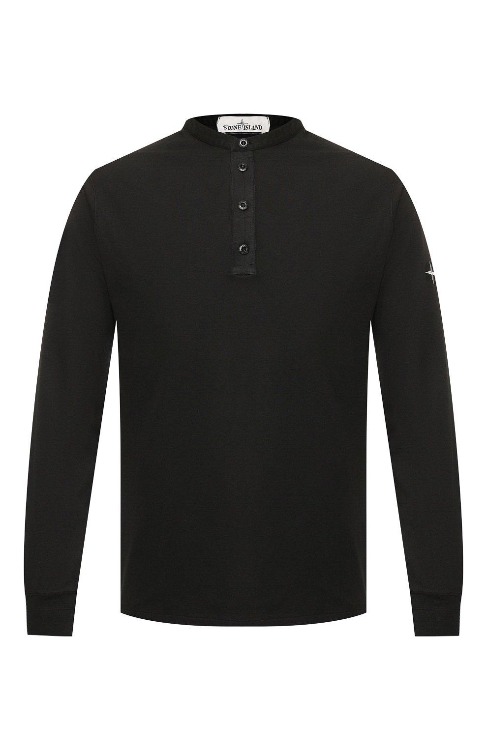 Мужская хлопковый лонгслив STONE ISLAND черного цвета, арт. 711520442 | Фото 1