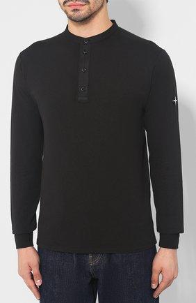 Мужская хлопковый лонгслив STONE ISLAND черного цвета, арт. 711520442 | Фото 3