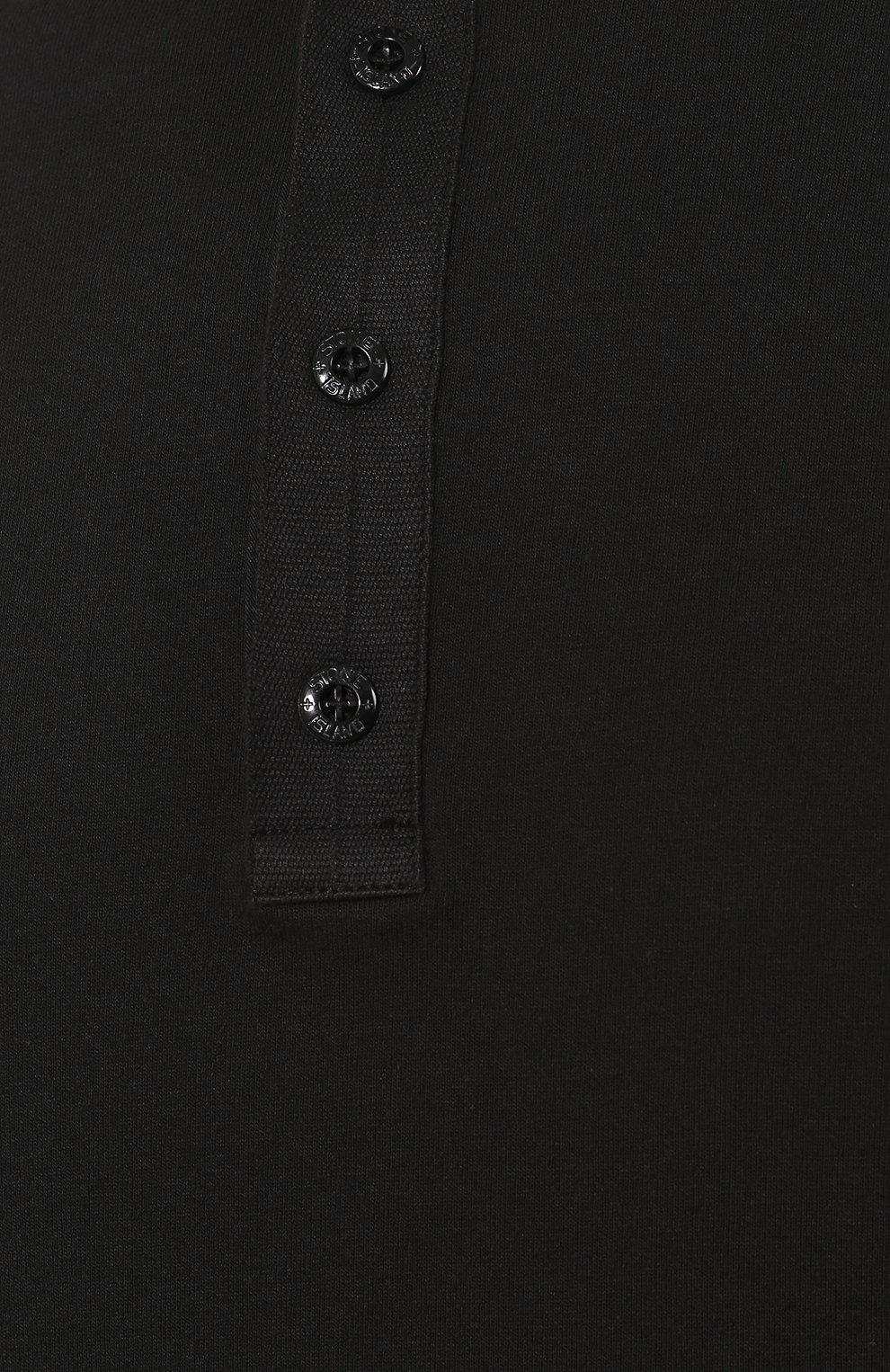 Мужская хлопковый лонгслив STONE ISLAND черного цвета, арт. 711520442 | Фото 5