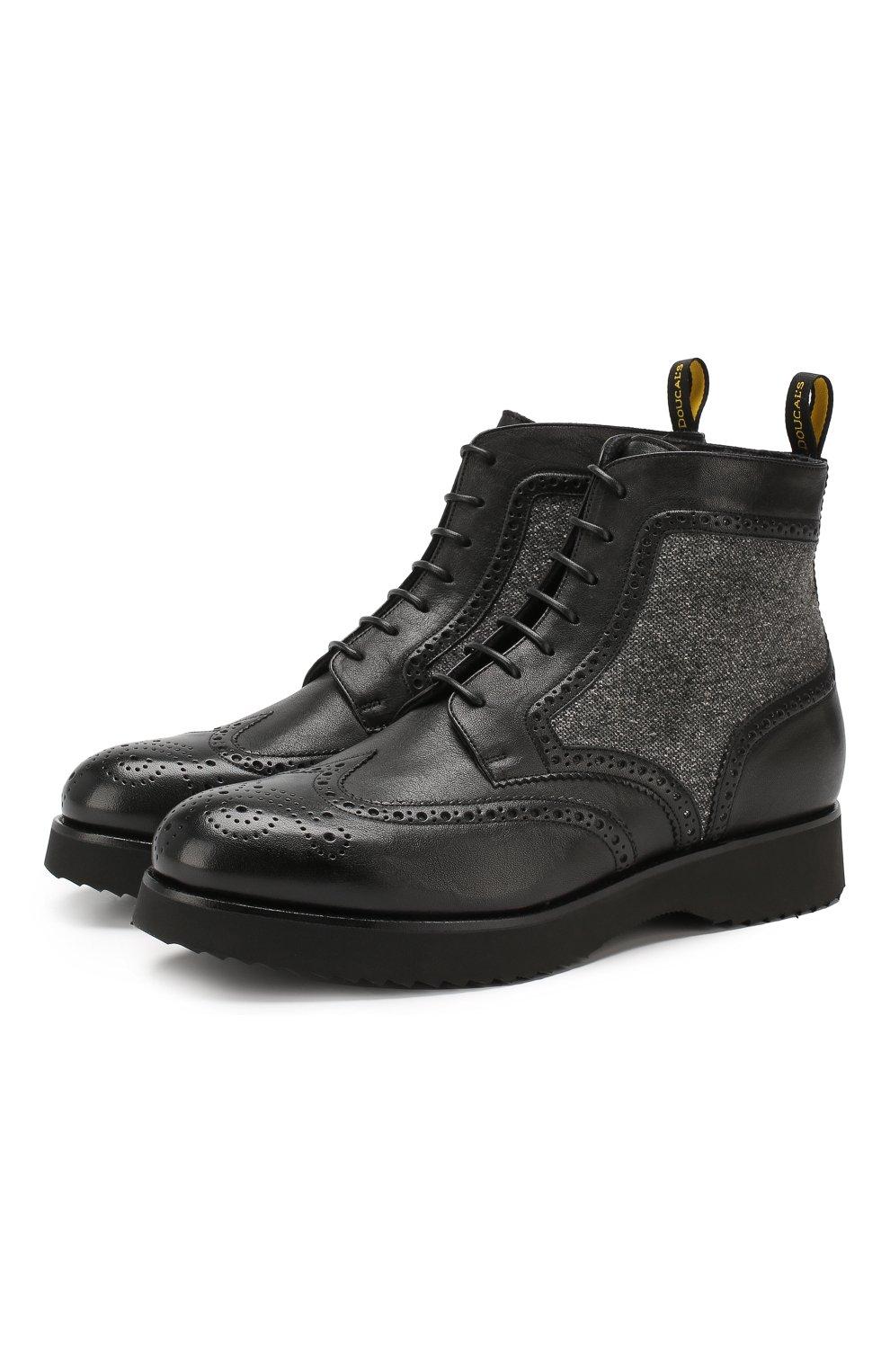 Мужские кожаные ботинки DOUCAL'S черного цвета, арт. DU2157DAK0PT331NN00 | Фото 1