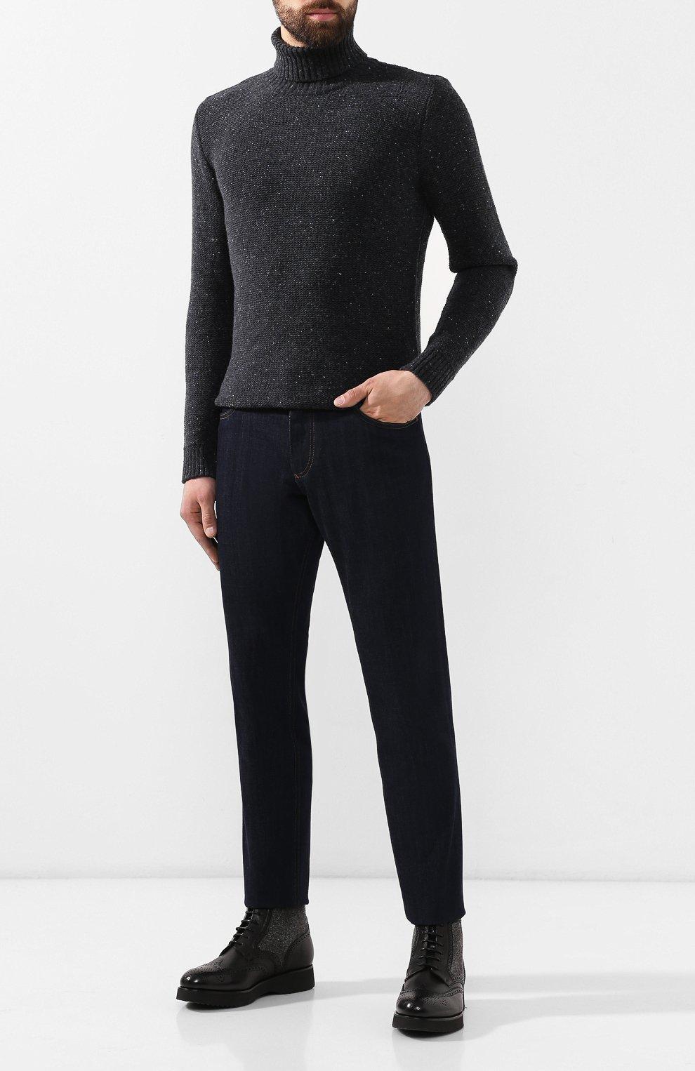 Мужские кожаные ботинки DOUCAL'S черного цвета, арт. DU2157DAK0PT331NN00 | Фото 2