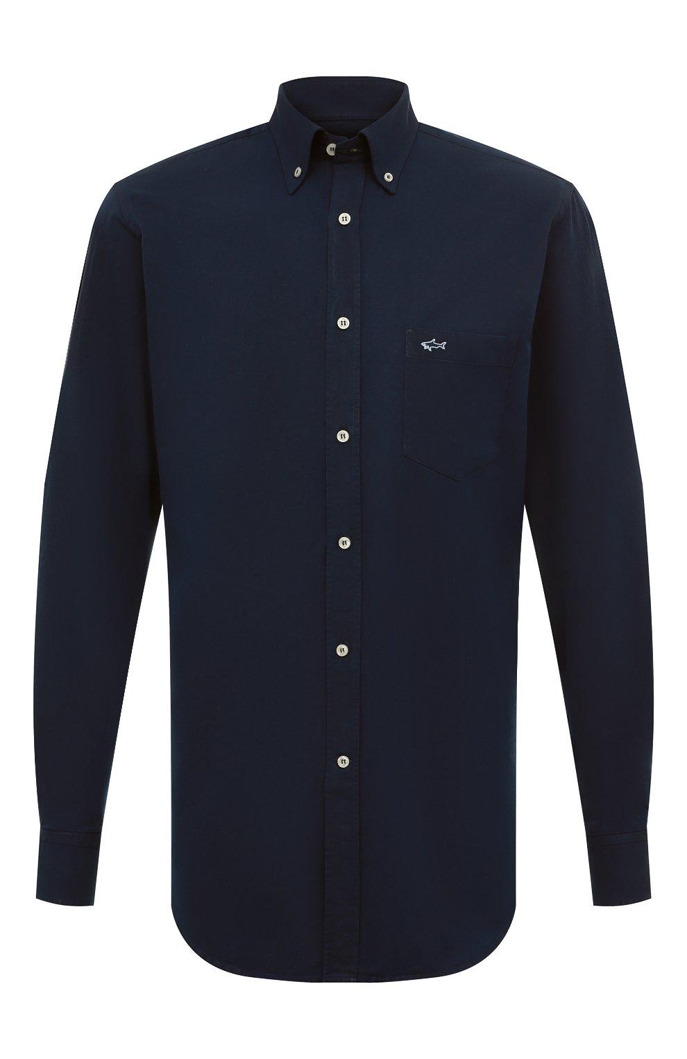 Мужская хлопковая рубашка PAUL&SHARK синего цвета, арт. C0P3002/C00 | Фото 1