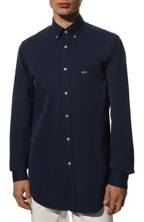 Мужская хлопковая рубашка PAUL&SHARK синего цвета, арт. C0P3002/C00 | Фото 3