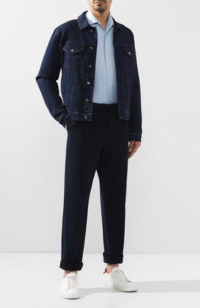 Мужской хлопковые брюки BRUNELLO CUCINELLI темно-синего цвета, арт. M079DB1150 | Фото 2