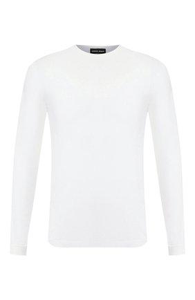 Мужская лонгслив из вискозы GIORGIO ARMANI белого цвета, арт. 3GST51/SJP4Z | Фото 1