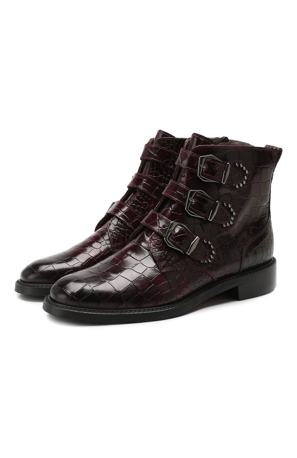 Женские кожаные ботинки PERTINI бордового цвета, арт. 192W16131D1 | Фото 1