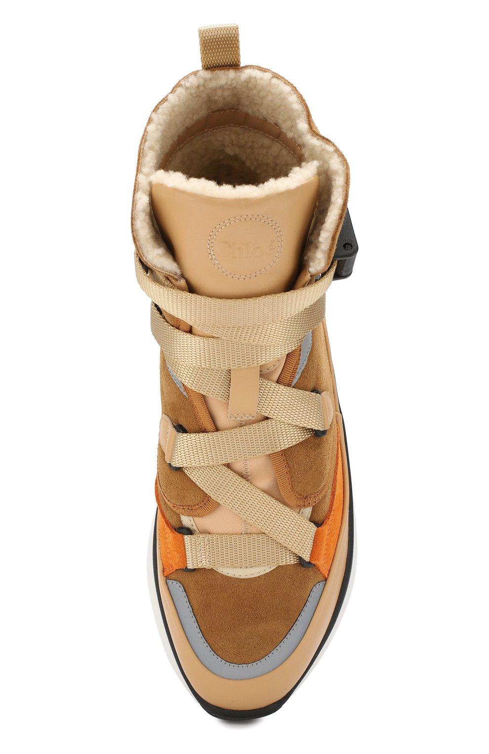 Женские замшевые кроссовки sonnie  CHLOÉ бежевого цвета, арт. CHC19A05085 | Фото 5