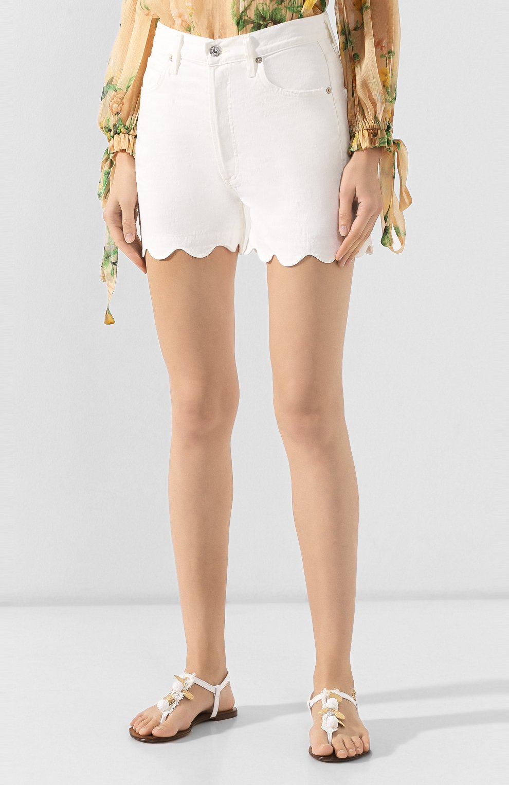 Женские джинсовые шорты CITIZENS OF HUMANITY белого цвета, арт. 90000-1114   Фото 3