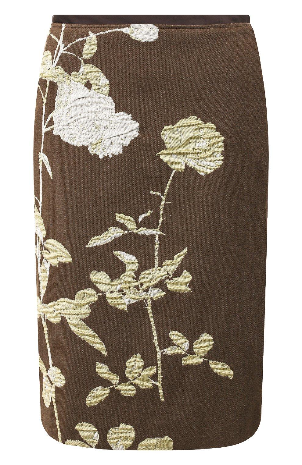 Женская юбка из смеси хлопка и шерсти DRIES VAN NOTEN хаки цвета, арт. 192-30851-8363 | Фото 1