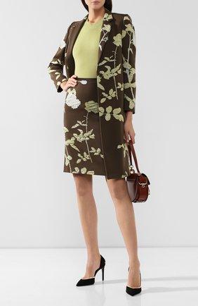 Женская юбка из смеси хлопка и шерсти DRIES VAN NOTEN хаки цвета, арт. 192-30851-8363 | Фото 2