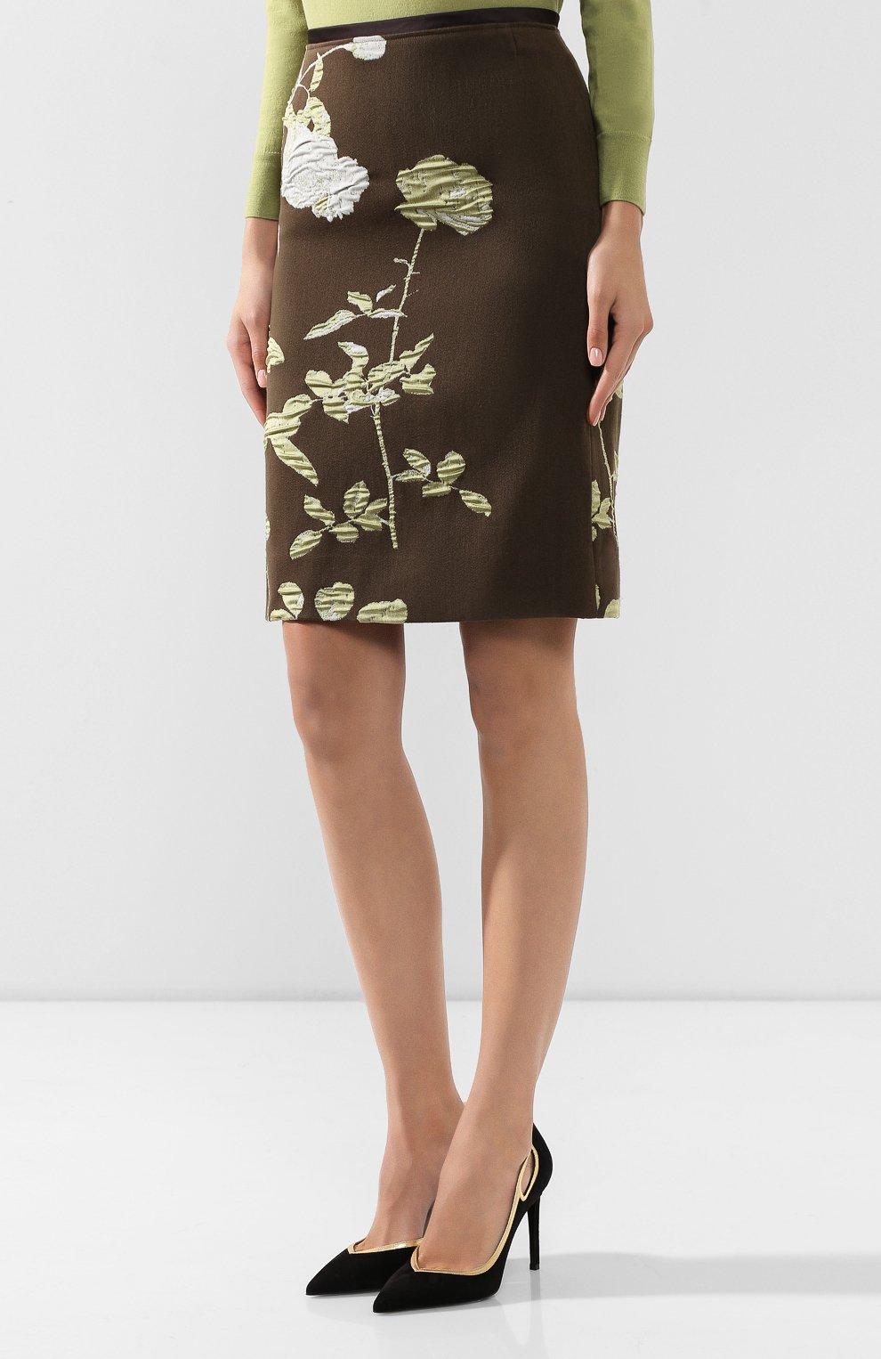 Женская юбка из смеси хлопка и шерсти DRIES VAN NOTEN хаки цвета, арт. 192-30851-8363 | Фото 3
