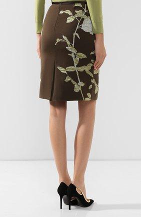 Женская юбка из смеси хлопка и шерсти DRIES VAN NOTEN хаки цвета, арт. 192-30851-8363 | Фото 4