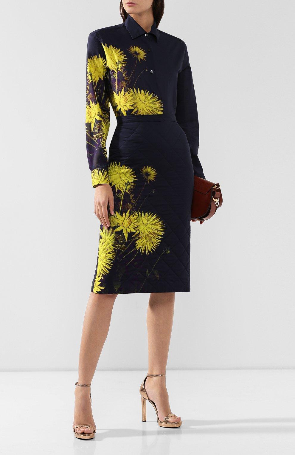 Женская стеганая юбка DRIES VAN NOTEN желтого цвета, арт. 192-30815-8537   Фото 2