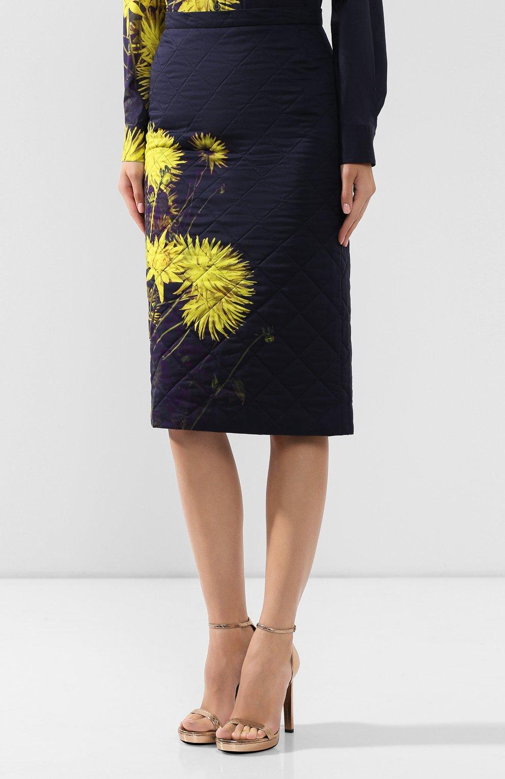 Женская стеганая юбка DRIES VAN NOTEN желтого цвета, арт. 192-30815-8537   Фото 3