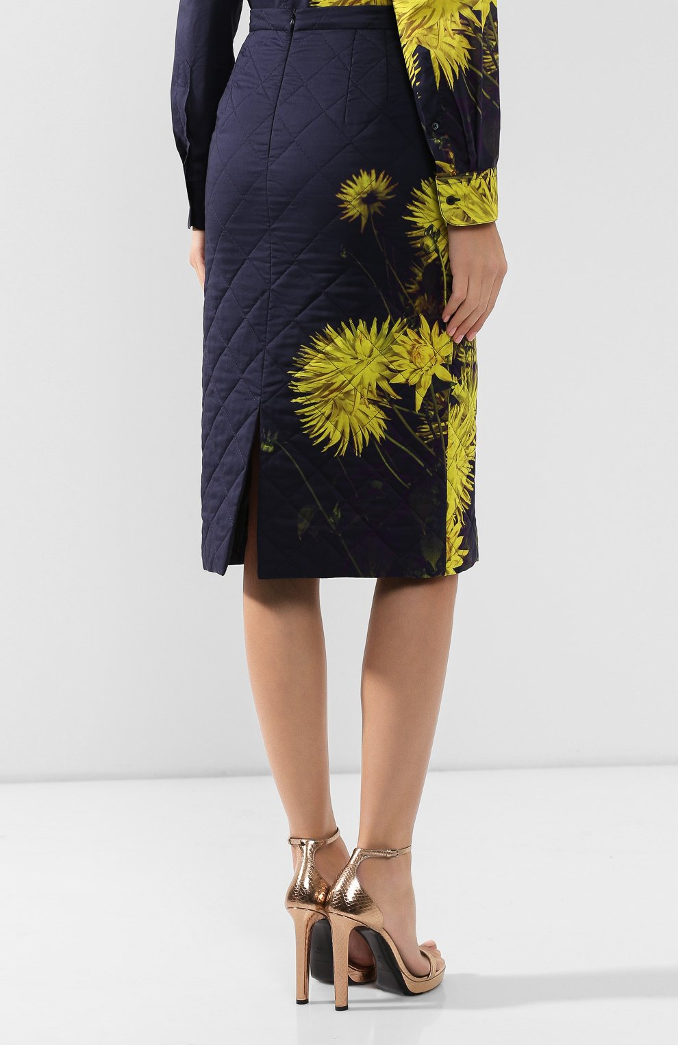 Женская стеганая юбка DRIES VAN NOTEN желтого цвета, арт. 192-30815-8537   Фото 4