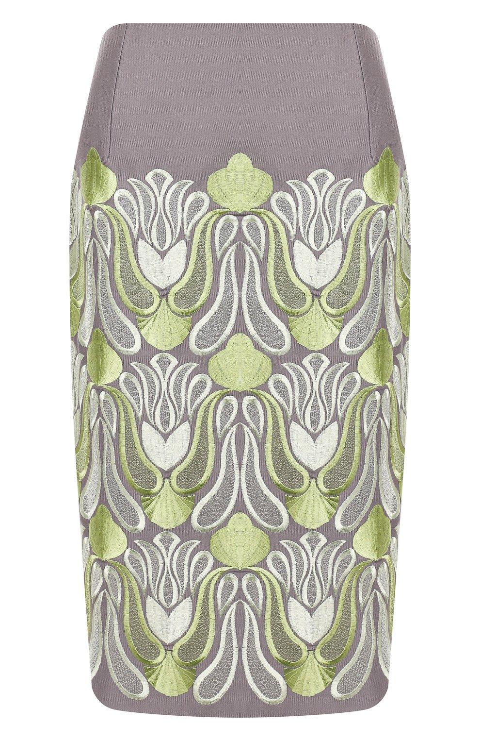 Женская хлопковая юбка DRIES VAN NOTEN серого цвета, арт. 192-30802-8063 | Фото 1