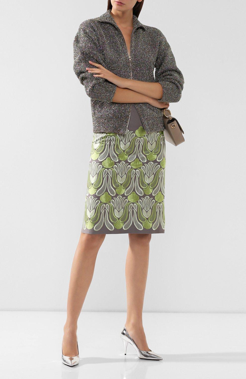 Женская хлопковая юбка DRIES VAN NOTEN серого цвета, арт. 192-30802-8063 | Фото 2
