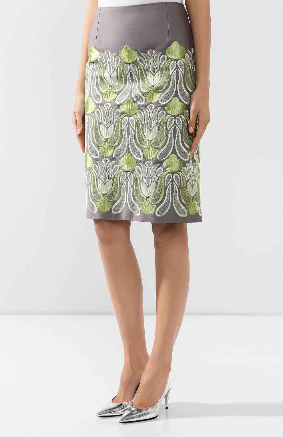 Женская хлопковая юбка DRIES VAN NOTEN серого цвета, арт. 192-30802-8063 | Фото 3