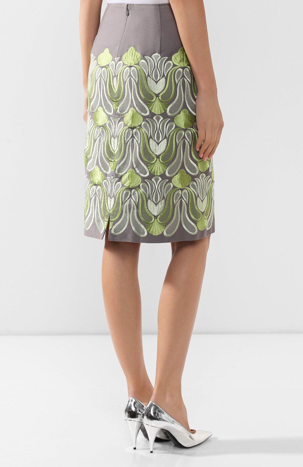 Женская хлопковая юбка DRIES VAN NOTEN серого цвета, арт. 192-30802-8063 | Фото 4