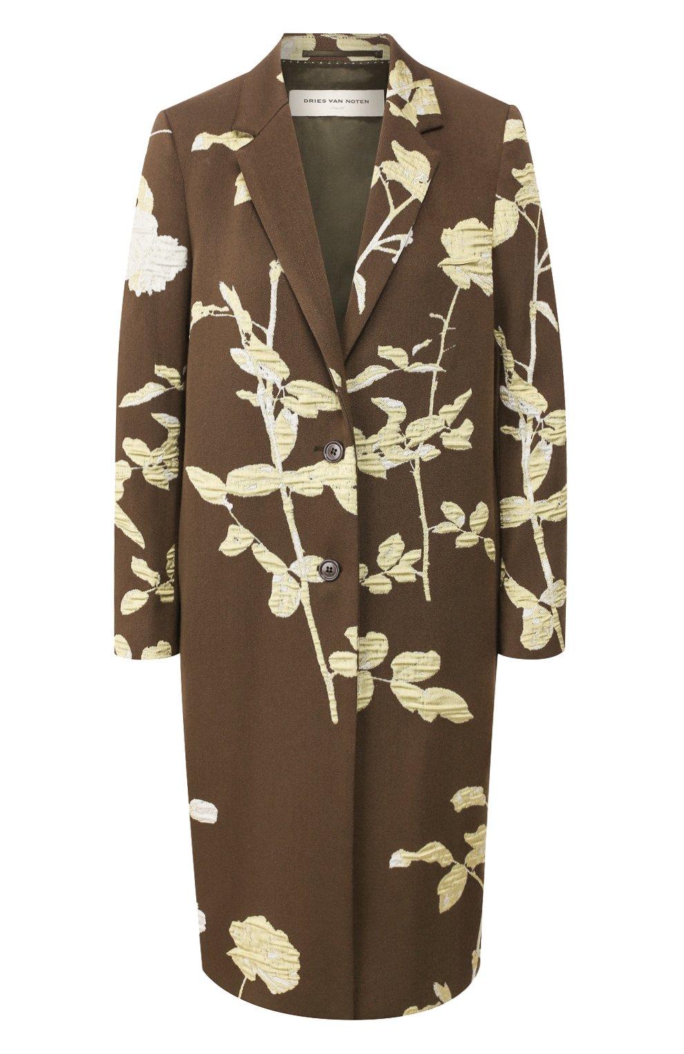 Женское пальто DRIES VAN NOTEN хаки цвета, арт. 192-30270-8363   Фото 1