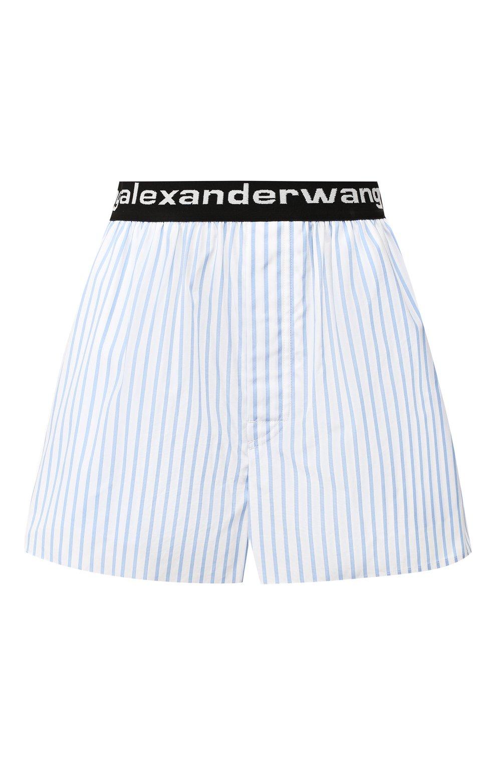 Женские хлопковые шорты ALEXANDER WANG голубого цвета, арт. UWC2194188 | Фото 1