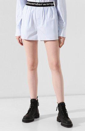 Женские хлопковые шорты ALEXANDER WANG голубого цвета, арт. UWC2194188 | Фото 3