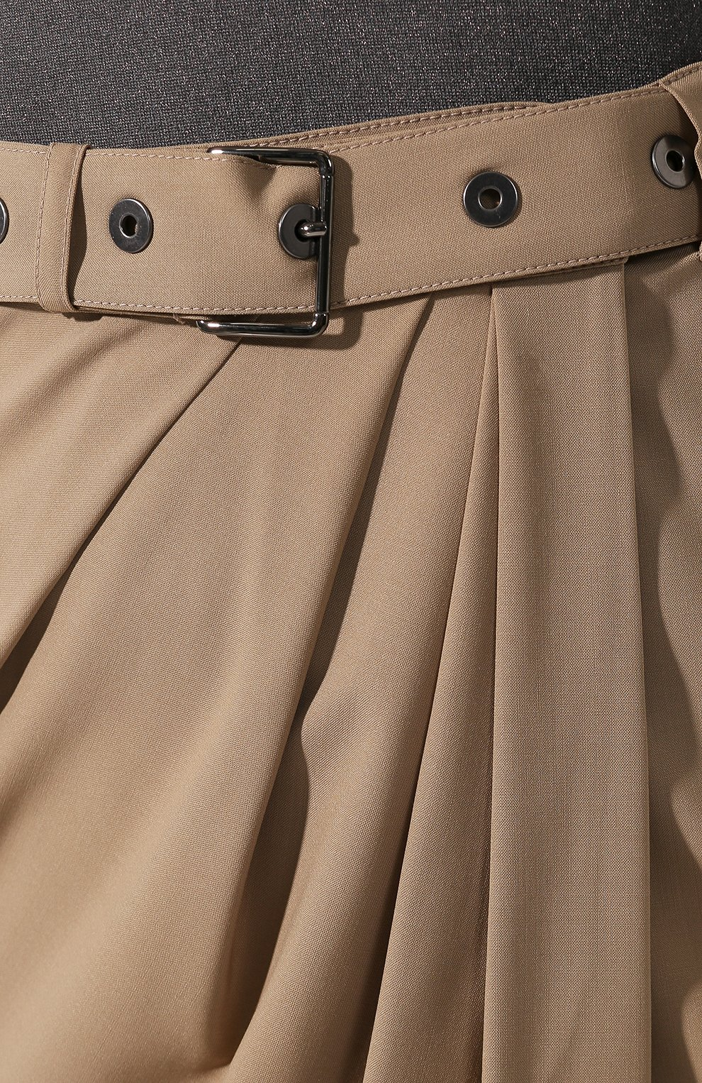 Шерстяная юбка Brunello Cucinelli бежевая | Фото №5