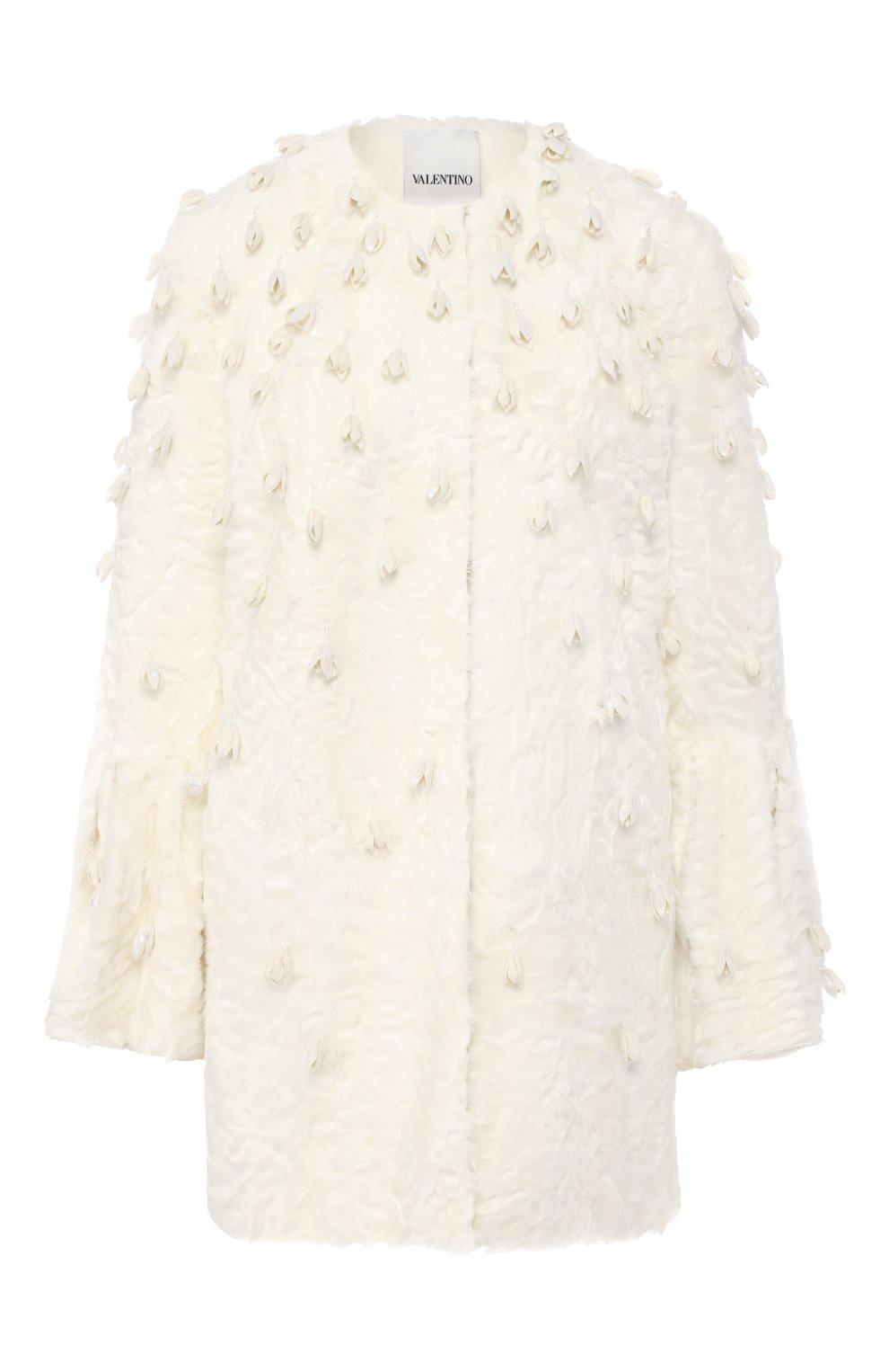 Женское меховое пальто VALENTINO белого цвета, арт. SF3FA786CRF   Фото 1
