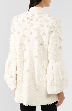 Женское меховое пальто VALENTINO белого цвета, арт. SF3FA786CRF   Фото 4