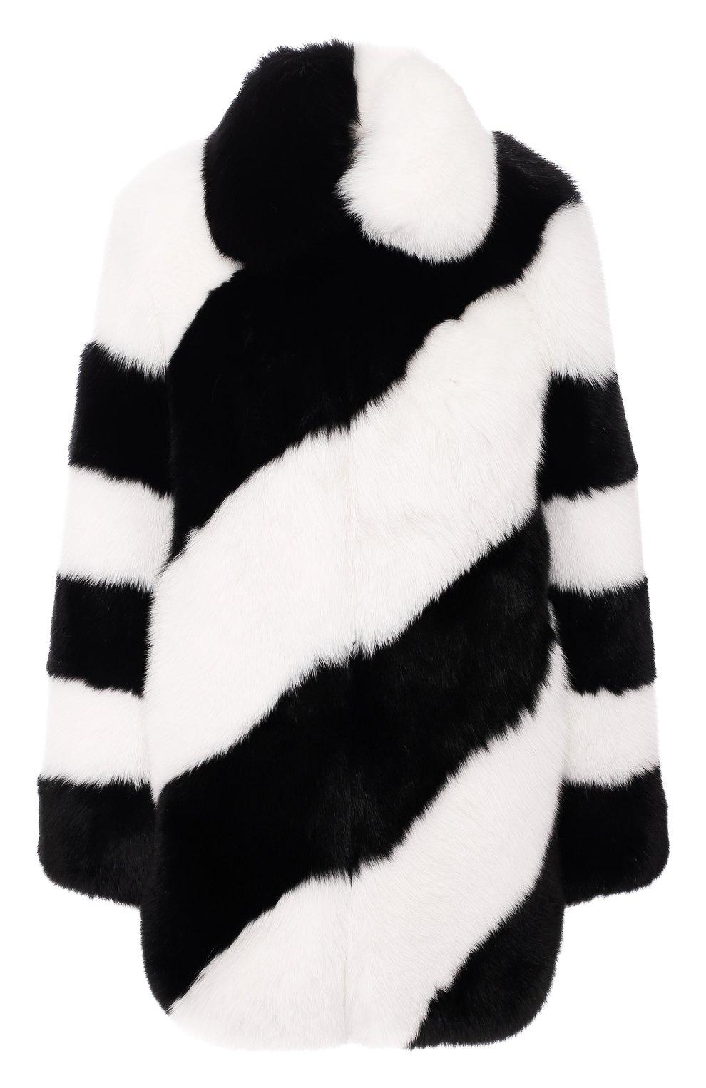 Женская шуба из меха лисы SAINT LAURENT черно-белого цвета, арт. 583991/Y7LY2 | Фото 1