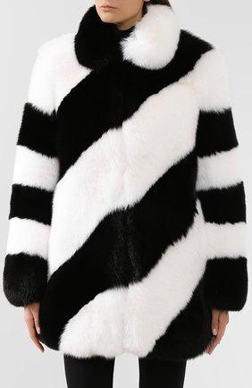 Женская шуба из меха лисы SAINT LAURENT черно-белого цвета, арт. 583991/Y7LY2 | Фото 3