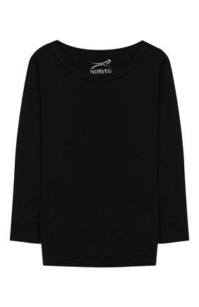 Детская лонгслив из шерсти и шелка NORVEG черного цвета, арт. 19WSG2HL-002 | Фото 1
