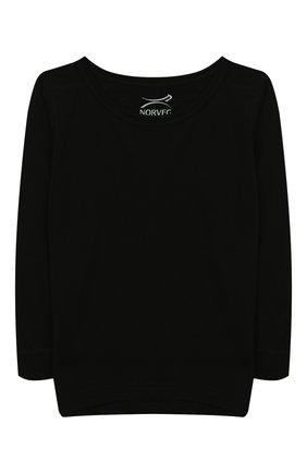 Детская лонгслив из шерсти и шелка NORVEG черного цвета, арт. 19WSB2HL-002 | Фото 1