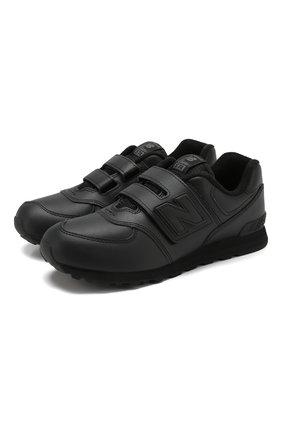 Детские кроссовки 574 classic NEW BALANCE черного цвета, арт. YV574ERN/M | Фото 1