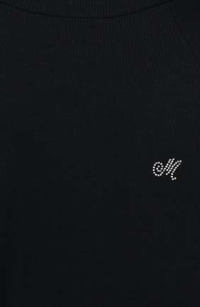 Детская хлопковая водолазка MONNALISA темно-синего цвета, арт. 17CLUC   Фото 3
